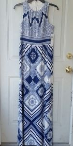 London Times Blue and White Maxi Dress